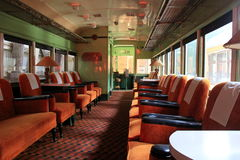 Luxurious seating in restored car, Seashore Trolley Museum, Kennebunkport,Maine,2016 stock photos