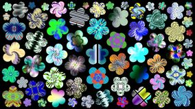 Luxurious set of beautiful, bright, colorful flowers for your design. Abstract unique illustration and decoration. Oil paint effect. Many flowers different Royalty Free Stock Photo