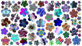 Luxurious set of beautiful colored flowers for your design. Abstract unique illustration and decoration. Oil paint effect. Many flowers different colors on a Stock Photo