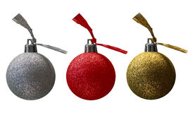 A luxurious set of glittering christmas balls. Luxurious Christmas balls, christmas card or seperatly stock image