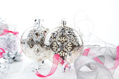 Luxurious silver christmas still life. Stock Image