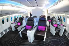 Luxurious and spacious business class seats in a Boeing 787 Dreamliner at Singapore Airshow 2012 Royalty Free Stock Photography