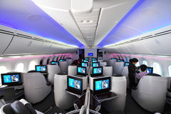 Luxurious and spacious business class seats in a Qatar Airways Boeing 787-8 Dreamliner at Singapore Airshow Royalty Free Stock Images