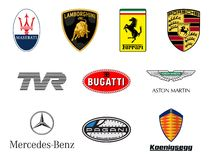 Luxurious sport cars producers logos Stock Photos