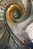 Luxurious stairs. High luxurious lighthouse staircase with metal guardrail and opaline walls, Eckmul Brittany stock photography