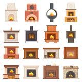 Luxurious Stylish Brick and Wooden Fireplaces Set. Fireplace as interior design element and source of warmth isolated cartoon vector illustrations Stock Photos