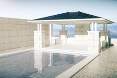 Luxurious swimming pool with patio Stock Photo