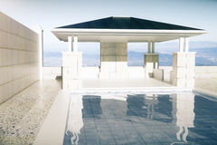 Luxurious swimming pool with patio front royalty free illustration
