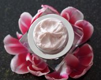 Cosmetics creme in a jar stock photo
