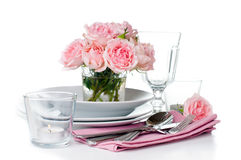 Luxurious table setting with pink roses Stock Photos