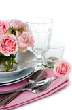 Luxurious table setting with pink roses Stock Photography