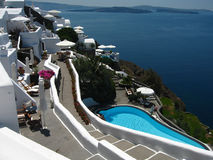 Luxurious terrace. View from hotel on santorini island, greece stock photo