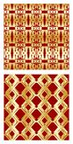 Luxurious tile with elegant golden seamless patterns on red background Stock Photo