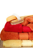 Luxurious towels with a brush and soap Royalty Free Stock Photography