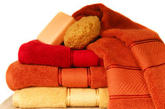 Luxurious towels with soap and sponge Stock Photography