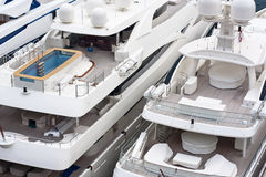 Luxurious triple deck yachts. In french riviera Stock Photography