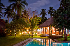Luxurious Tropical Resort at Night Stock Photo