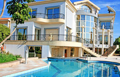 Luxurious villa. And swimming pool in Cyprus royalty free stock images