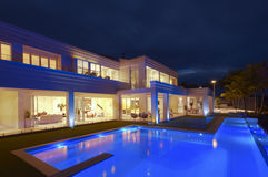 Luxurious villa with a big pool Stock Images