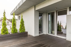 Luxurious villa terrace idea stock photos