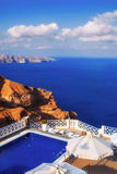 Luxurious villa with a view of the caldera, Santorini island Royalty Free Stock Photos