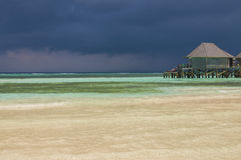 Luxurious Villas on the turquoise water in Maldives, Kuredu Royalty Free Stock Images