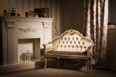 Luxurious vintage interior with fireplace Stock Image