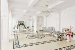Luxurious vintage interior with fireplace in the aristocratic style.  Stock Photo
