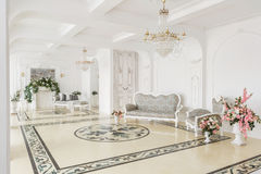 Luxurious vintage interior with fireplace in the aristocratic style.  Royalty Free Stock Photos