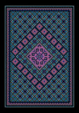 Luxurious vintage oriental bluish carpet with colored ornament in the middle Stock Photos