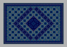 Luxurious vintage oriental carpet with ornament of blue shades Stock Photography