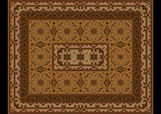 Vintage oriental carpet with ornament of brown and yellow shades Stock Photography