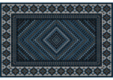 Luxurious vintage oriental rug in blue shades with original pattern. In the middle vector illustration