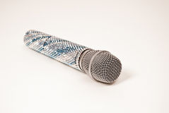 Luxurious voice microphone crystals decorated on a white background. Vocal microphone Shure-86 decorated with crystals on a white background isolated Stock Photo