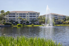 Luxurious Waterfront Condominiums With Fountain Stock Photo