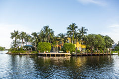 Luxurious waterfront home in Fort Lauderdale, USA. Stock Images