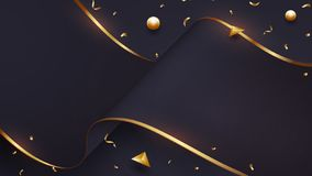 Luxurious wave paper background with a blend of black and gold. Eps10 vector illustration.  stock illustration