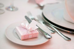 Luxurious wedding dinner. Table setting for a luxurious wedding dinner Stock Photos