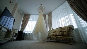 Luxurious wedding dress. stock footage