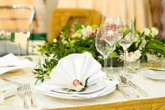 Luxurious Wedding Table Setting Stock Photos