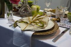 Luxurious wedding table setting at the festive ceremony. Wedding stock photography