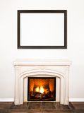 Luxurious White Marble Fireplace and empty wall Stock Photos