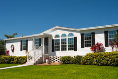 Luxurious white mobile home royalty free stock photography