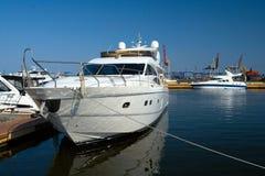 Luxurious white yacht Stock Photos