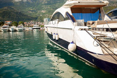 Luxurious white yacht moored at sea bay Stock Photo