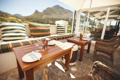 Luxurious winery courtyard restaurant Royalty Free Stock Photos