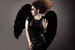 Luxurious woman with lush hair and dark makeup with black wings. In studio royalty free stock image