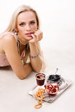 Luxurious woman and silver tray Royalty Free Stock Photo