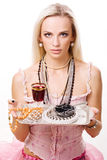 Luxurious woman and silver tray Royalty Free Stock Image