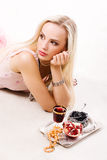 Luxurious woman and silver tray Stock Image